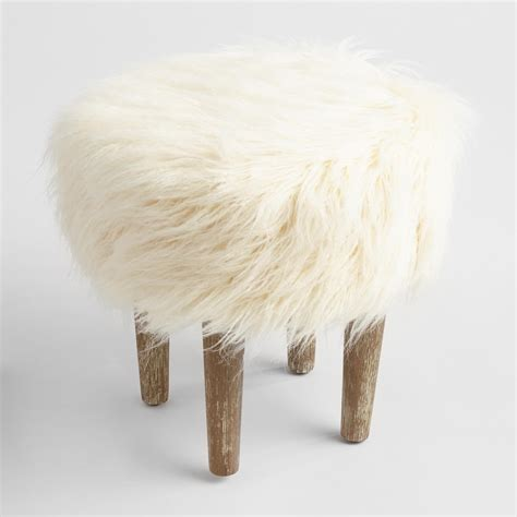 Ivory Faux Flokati Stool ivory faux flokati stool world market