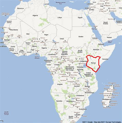 map of kenya africa a map of africa showing where kenya is located