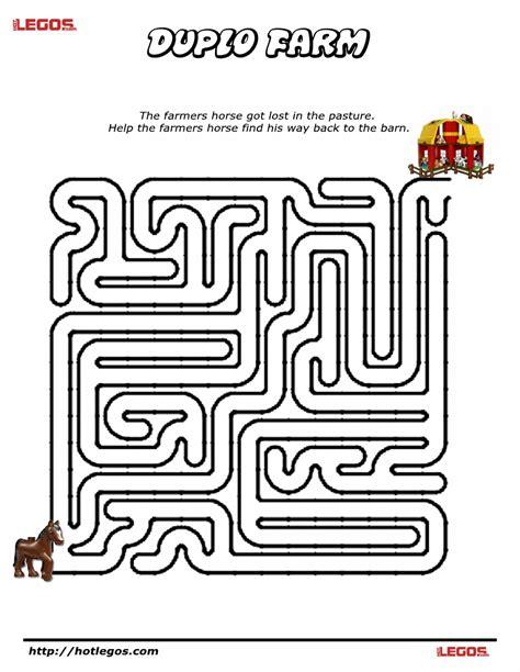 printable themed mazes duplo farm puzzle maze free printable lego fun stuff