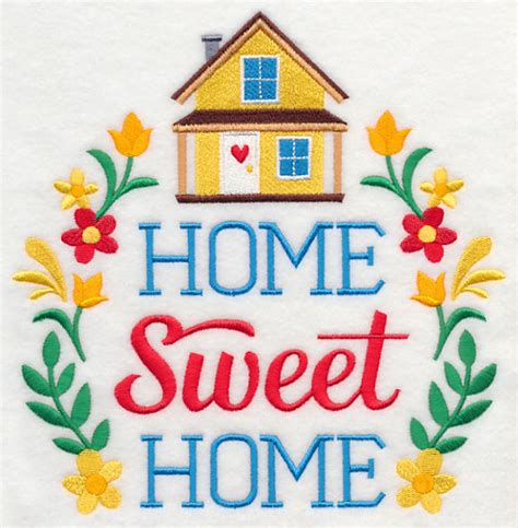 free embroidery design home sweet home