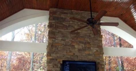 Tongue And Groove Fireplace by Covered Back Porch With Fireplace Columns