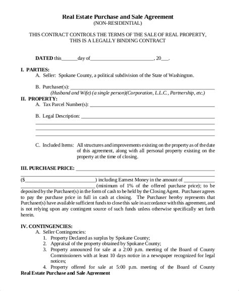 Sale Agreement Template For Property Sle Purchase And Sale Agreement 8 Exles In Pdf Word Home Buyout Agreement Template