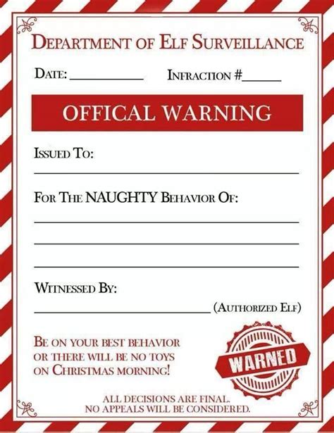 free printable elf on the shelf warning letter bad behavior warning letter from elfie hurt feelings