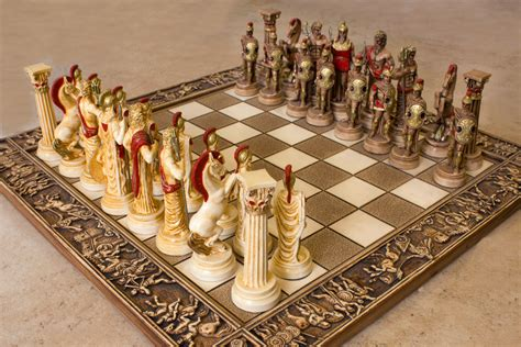 Handcrafted Chess Set - ceramic handmade chess set gods of olympus