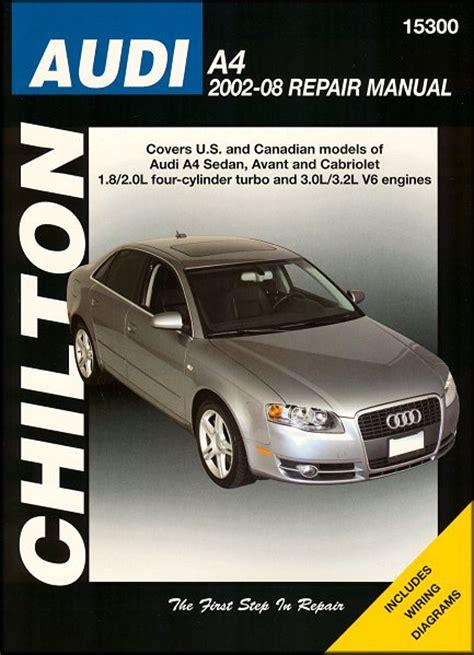 car engine repair manual 2000 audi a4 seat position control audi a4 sedan avant cabriolet repair manual 2002 2008 chilton