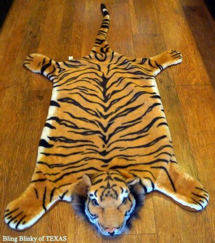 tiger fur rug bengal tiger feaux fur skin rug wall floor chair zoo jungle india jun