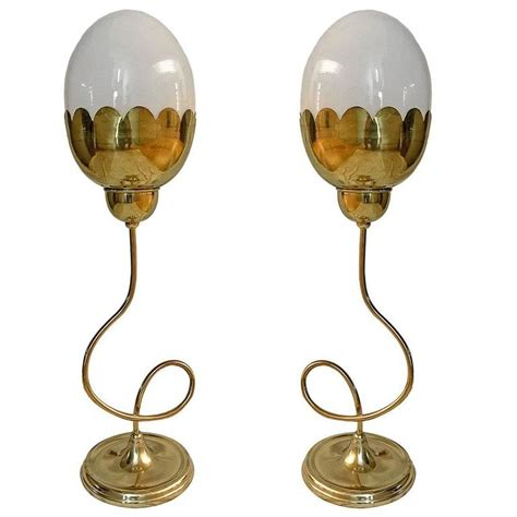Table L Glass Globes by Set Of Four Tulip Table Ls With Glass Globes For Sale