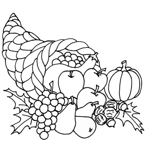 coloring page of a cornucopia with the fruit a p p l e thanksgiving day images