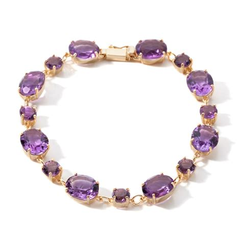 technibond amethyst gemstone tennis bracelet 14k yellow