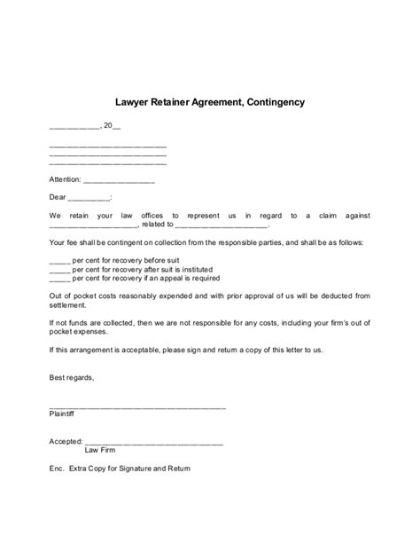 retainer fee agreement template lawyer retainer agreement form