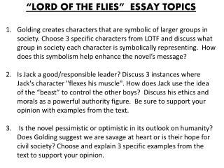 Lord Of The Flies Essay Topics by Ppt Lord Of The Flies Characters And Symbols Powerpoint Presentation Id 2226682