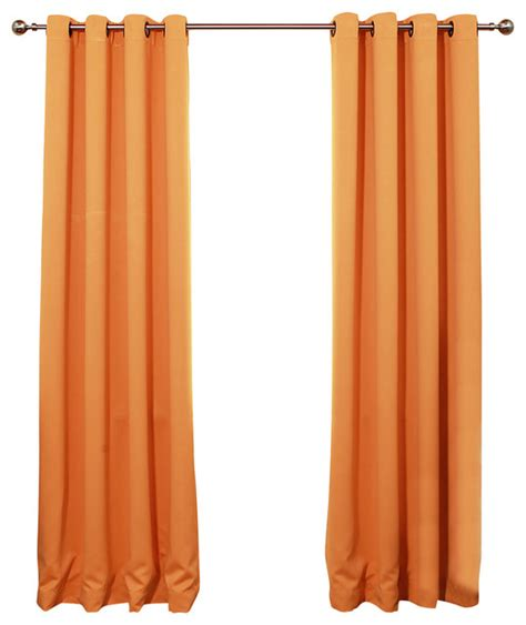 orange black out curtains solid grommet top thermal insulated blackout curtain