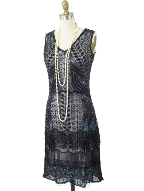 beaded flapper dress 20s reproduction marcelle black beaded flapper dress 1920s