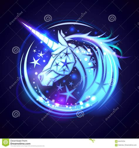 unicorn head logo concept with stars and neon glowing