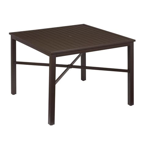 Metal Patio Dining Table Hton Bay Mix And Match Square Metal Outdoor Dining Table Fts70660 The Home Depot