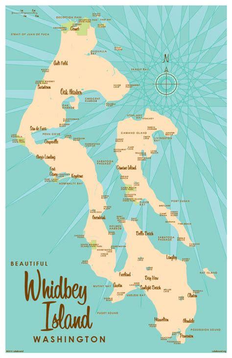 whidbey island map whidbey island wa map print