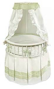 Round Bassinet With Canopy by Round Bassinet With White Sage Bedding
