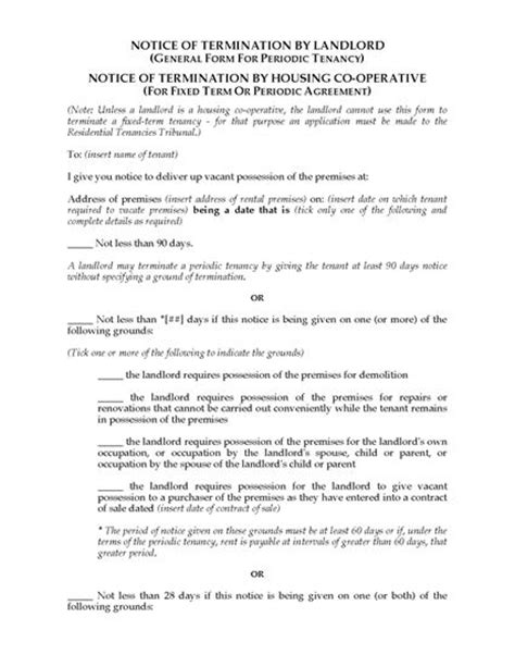 Lease Termination Letter Australia south australia notice of termination by landlord or housing co operative forms and
