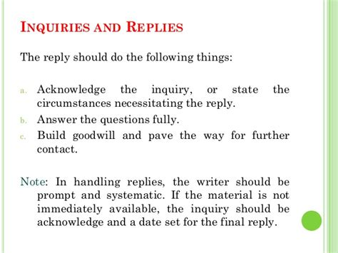 Business Letter Sle Reply To Enquiry business letters