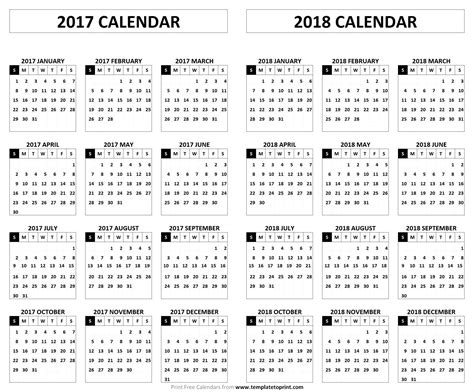 Printable 2017 2018 Calendar 2017 2018 calendar printable template pdf holidays and