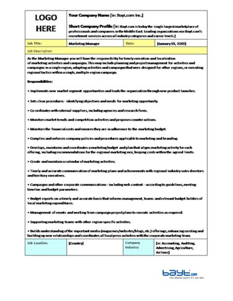 microsoft word templates for job descriptions marketing manager job description template job