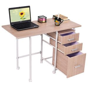 Wheeled Computer Desk Folding Computer Laptop Desk Wheeled Home Office Furniture With 3 Drawers New Ebay