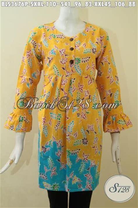 Baju Batik Pastel Kuning blus trendy kombinasi warna kuning dan biru motif bunga baju batik printing model terbaru yang
