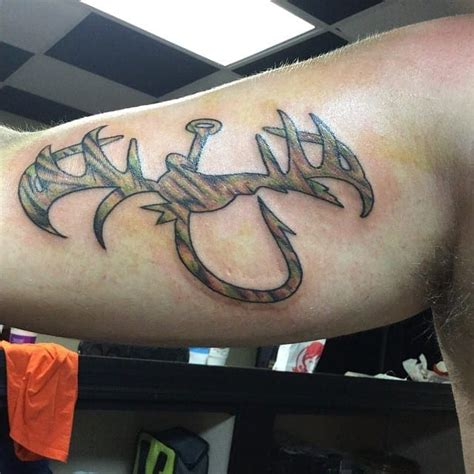 tattoo hunter online fishing hook and deer antler tattoo creativefan
