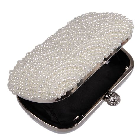 oval shaped pearl beaded white clutch handmade box clutch