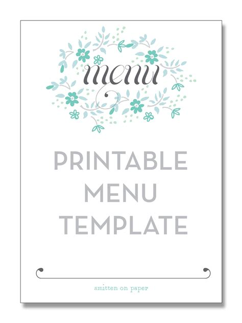 free menu templates for dinner freebie friday printable menu time