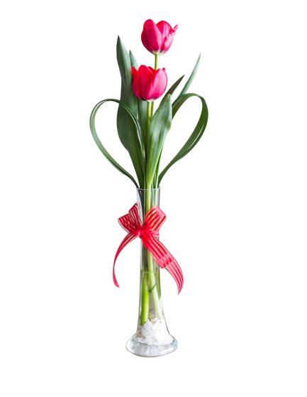 imagenes de arreglos minimalistas florero de 2 tulipanes con lazo