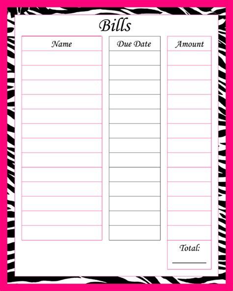 images printable blank paying bills organizer