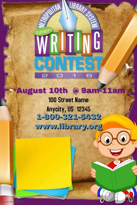 Writing Contest Template Postermywall Contest Template