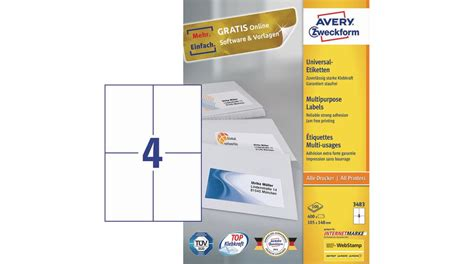 Etiketten Drucken 105 148 by 3483z Universaletiketten 105 X 148 Mm Weiss Avery Zweckform