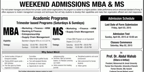 Weekend Mba Programs In Karachi by Mohammad Ali Jinnah Karachi Mba Ms Admission