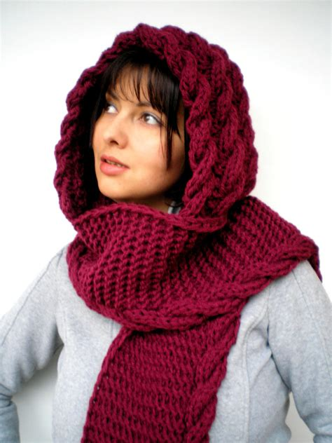 knit hooded scarf cabled marion bordeaux scarf soft mixed wool hooded