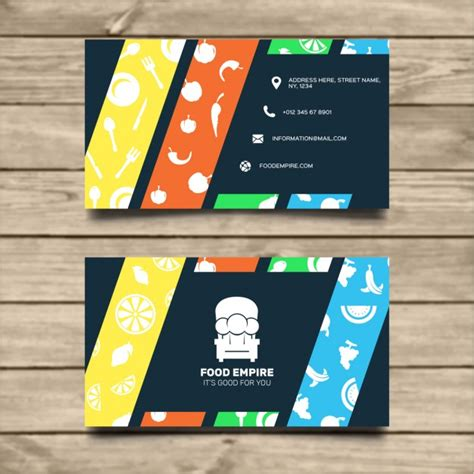 food business card template vector free download