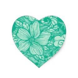 Easy Floral Designs floral flow teal heart sticker zazzle
