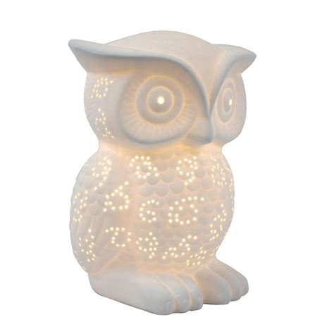 wise and wired owl l night light home decor simple designs animal love 9 84 in white porcelain wise