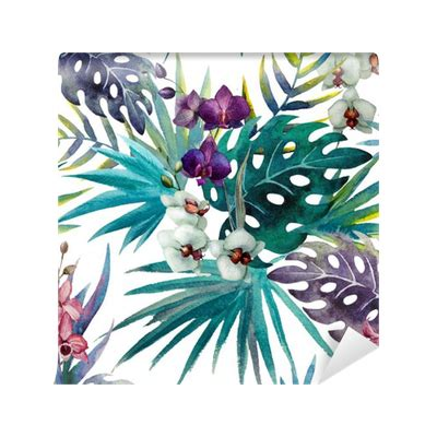 hibiscus pattern png pattern orchid hibiscus leaves watercolor tropics wall