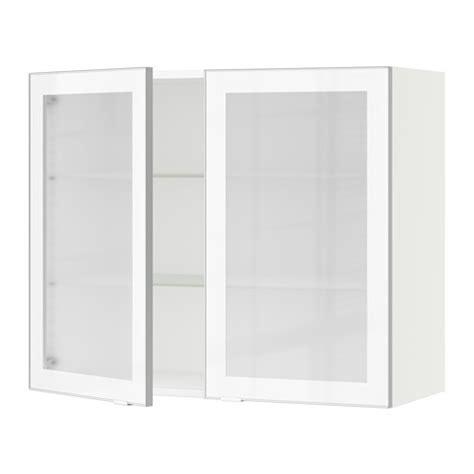 armoire murale cuisine sektion armoire murale 2 portes vitr 233 es blanc jutis