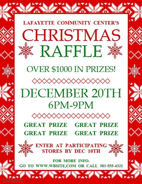 christmas raffle template postermywall