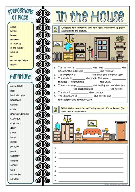 house printable exercises in the house prepositions of place worksheet free esl