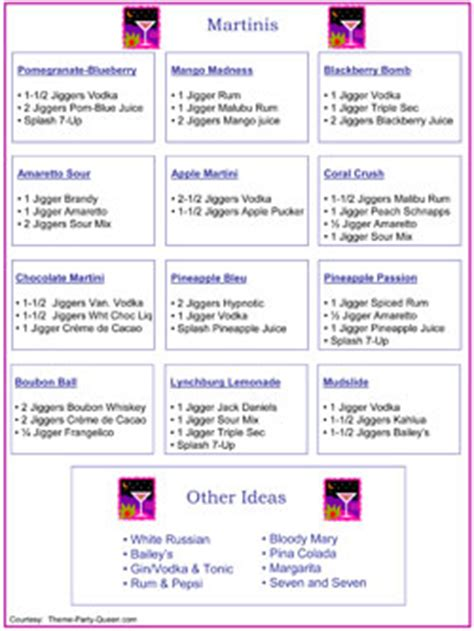 cocktail menu ideas for 10 cocktail ideas menu free printable cocktail menu
