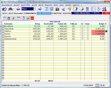 Vorlage Kostenlos Haushaltsbuch Haushaltsbuch Standard Freeware De