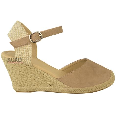 Wedges 2 Strappy new womens summer espadrilles strappy low wedges sandals shoes size 3 8