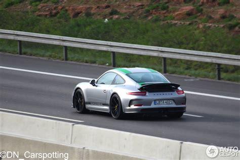 porsche 911 dark green 2017 porsche 911 r with green stripes shows up in germany