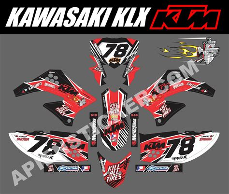 Sticker Decal Striping Dekal Stiker Klx 149 Glossy striping motor klx 150 ktm merah hitam apien sticker