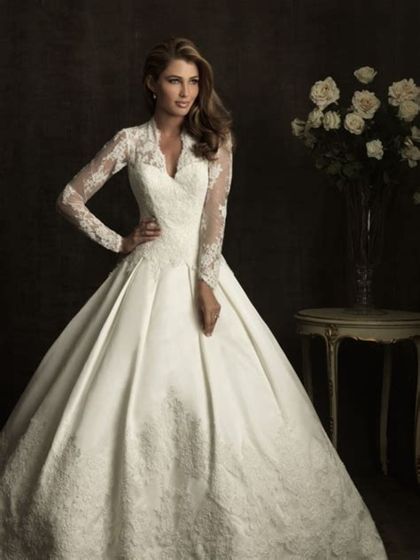 lace v neckline ball gown wedding dress with sleeves