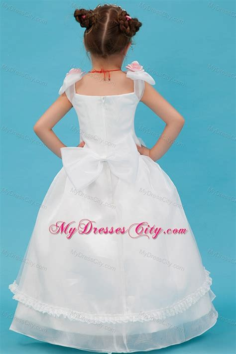 Square Flower Dress white square organza floral flower dress with bowknot
